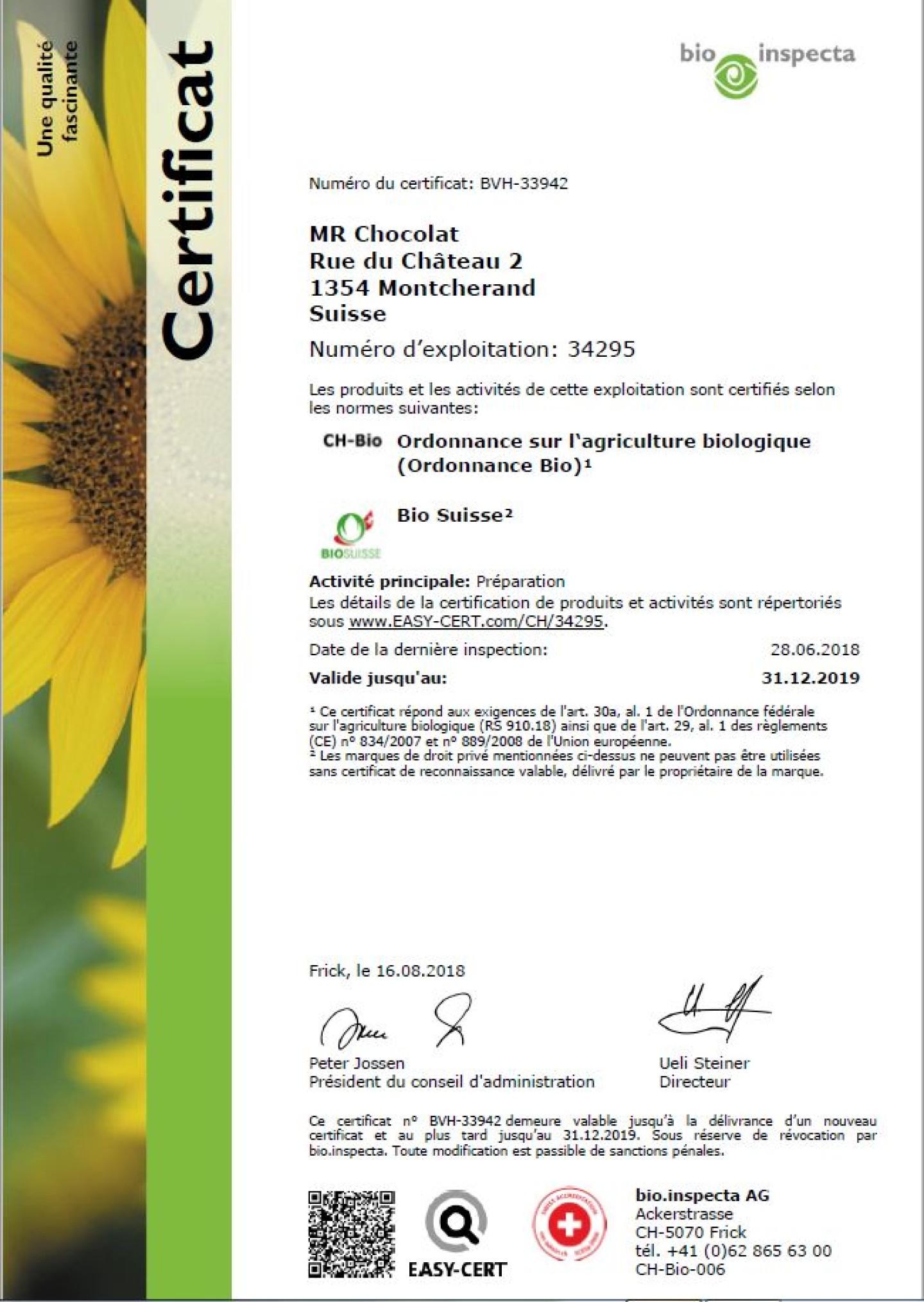 Certificat 2018